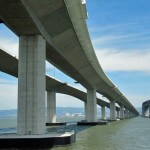 New Bay Bridge Skyway, left, and old double-decker, right